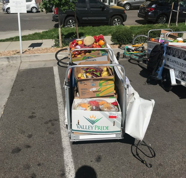 A long bike trailer loaded with groceries