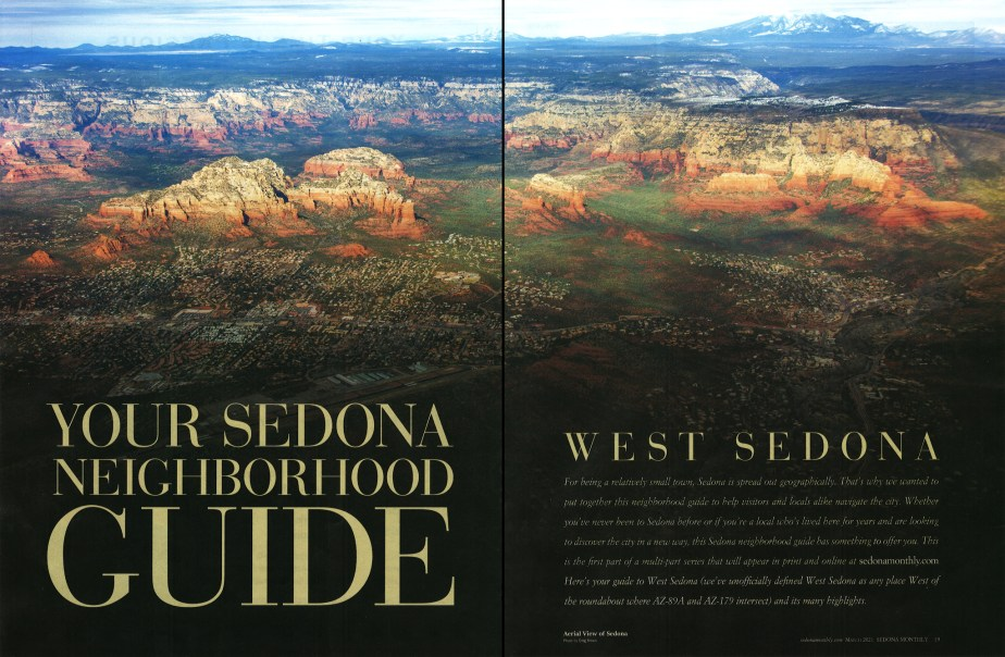 "Greg's aerial photographs featured in ""Sedona Monthly"" magazine"
