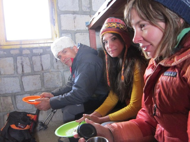 Mohammad Bahrevar, Shaima Shadman, and Jenn Flemming in the Alam Kuh hut