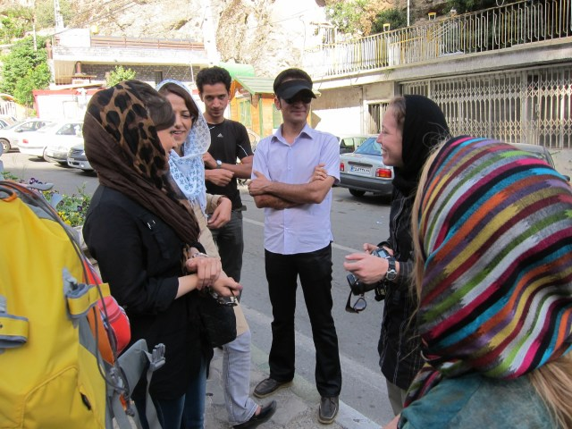 Lydia Pyne and Marilyn Genenati making friends north of Tehran