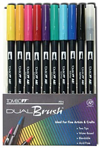 DUAL BRUSH PEN SET/6 BRIGHT