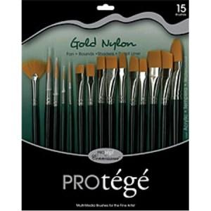 Connoisseur Gold Nylon Short Handle Brush 15 Piece Set