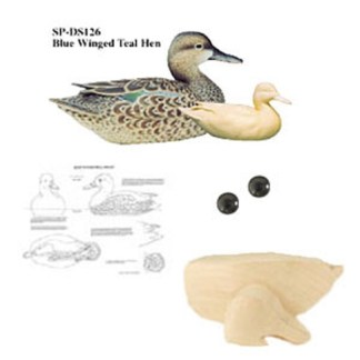 Kit-  Blue Winged Teal Hen WOOD CARVING KIT
