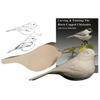 NEW Kit- Exclusive BLACK-CAPPED CHICKADEE KIT   Jerry Simchuk Tupelo Rough-Out WOOD CARVING KIT