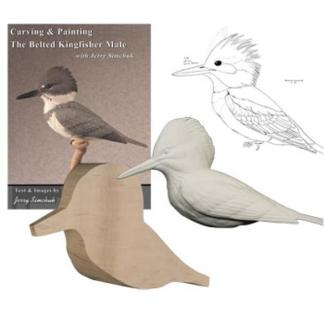 NEW Kit- Exclusive BELTED KINGFISHER  Jerry Simchuk Tupelo Rough-Out WOOD CARVING KIT