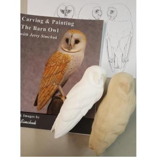 NEW Kit- Exclusive BARN OWL (1/2 LIFESIZE) Jerry Simchuk Tupelo Rough-Out WOOD CARVING KIT
