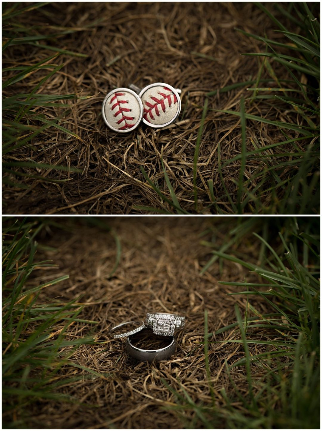 Rings and groom's unique baseball cufflinks at Bay Pointe Inn on Gun Lake photographed by Melissa Gregersen Photography