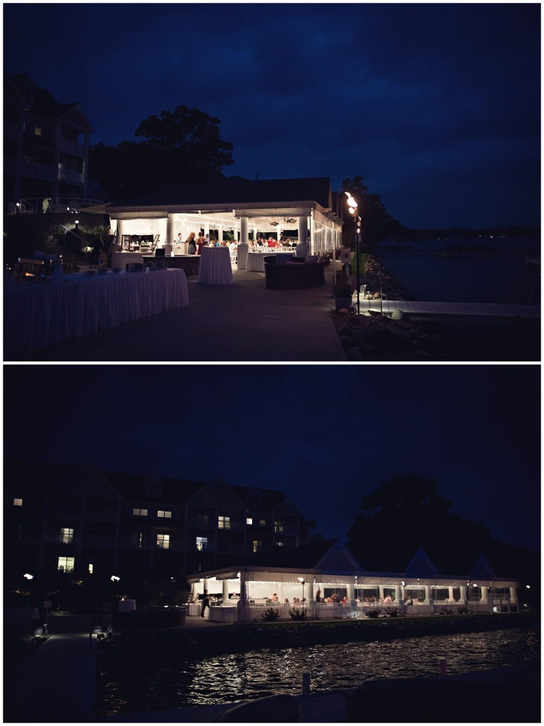 Bay Pointe Inn on Gun Lake at night time photographed by Gregersen Photography