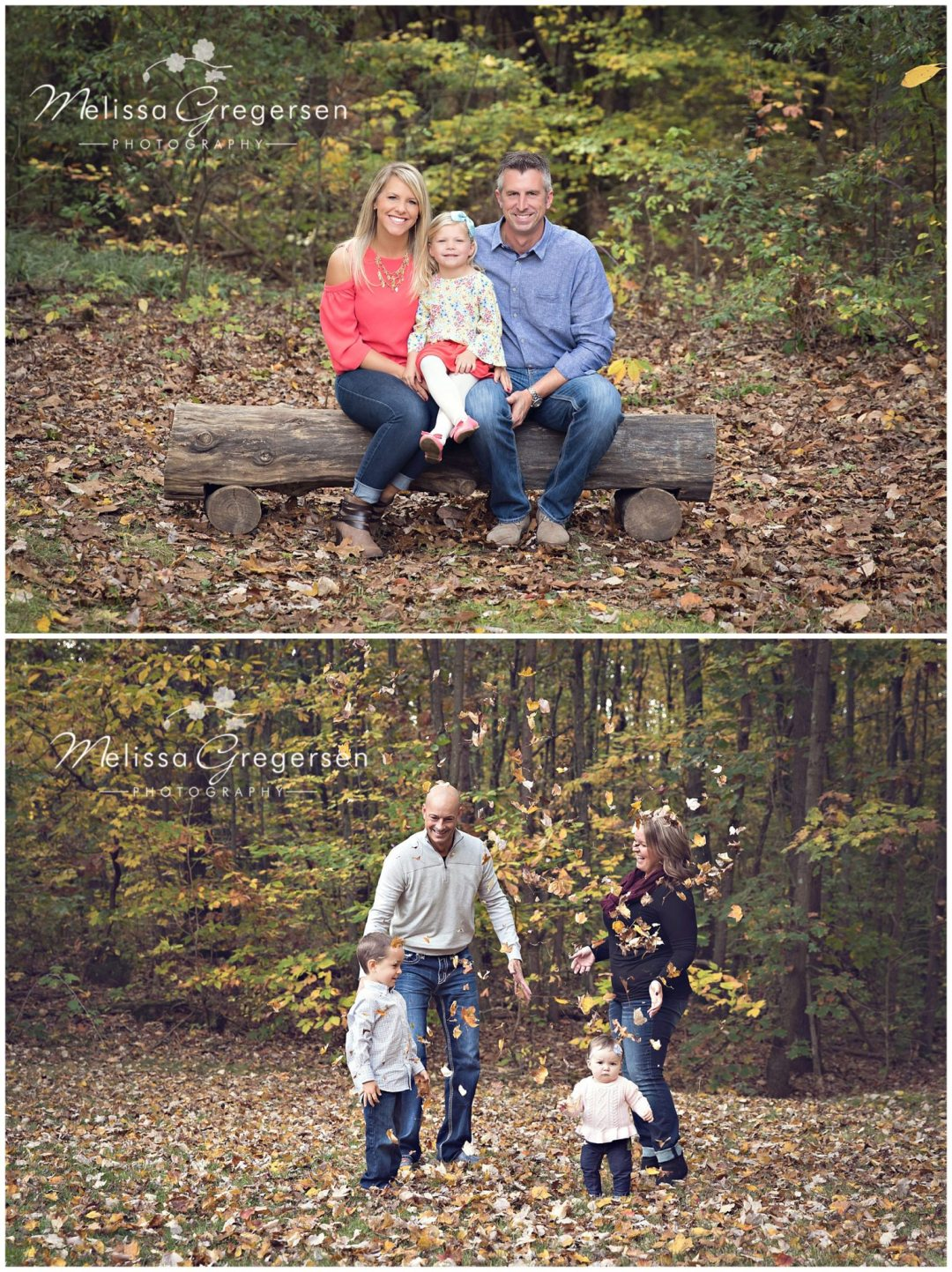 Fall Family Photography family playing in the leaves together