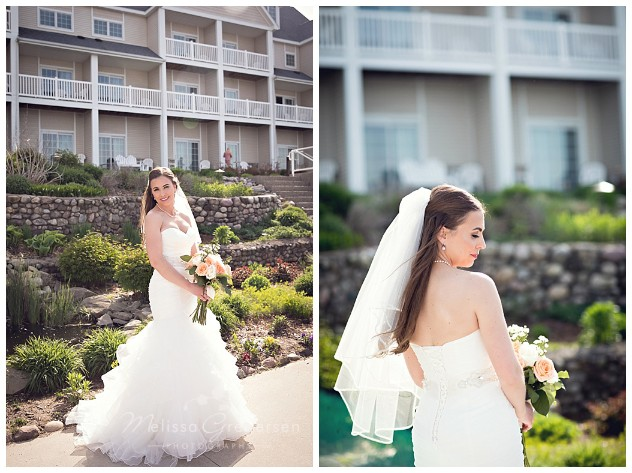 Beautiful Bride in mermaid style dress and blush and cream flowers at Bay Pointe Inn on Gun Lake photographed by Melissa Gregersen Photography