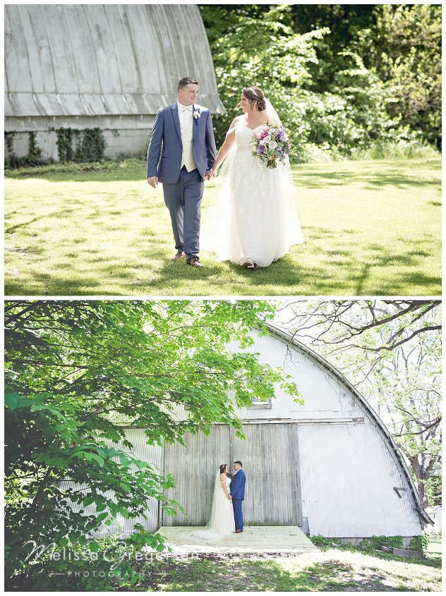 Romantic moments with the rustic backdrop of the vintage rose barn