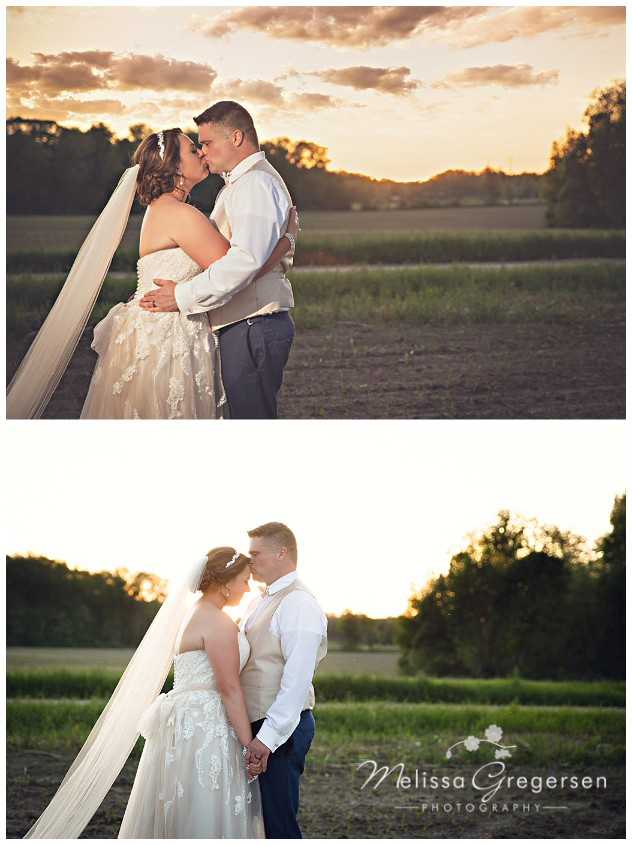 Bride and groom kissing at sunset on their wedding day at the Vintage Rose Barn