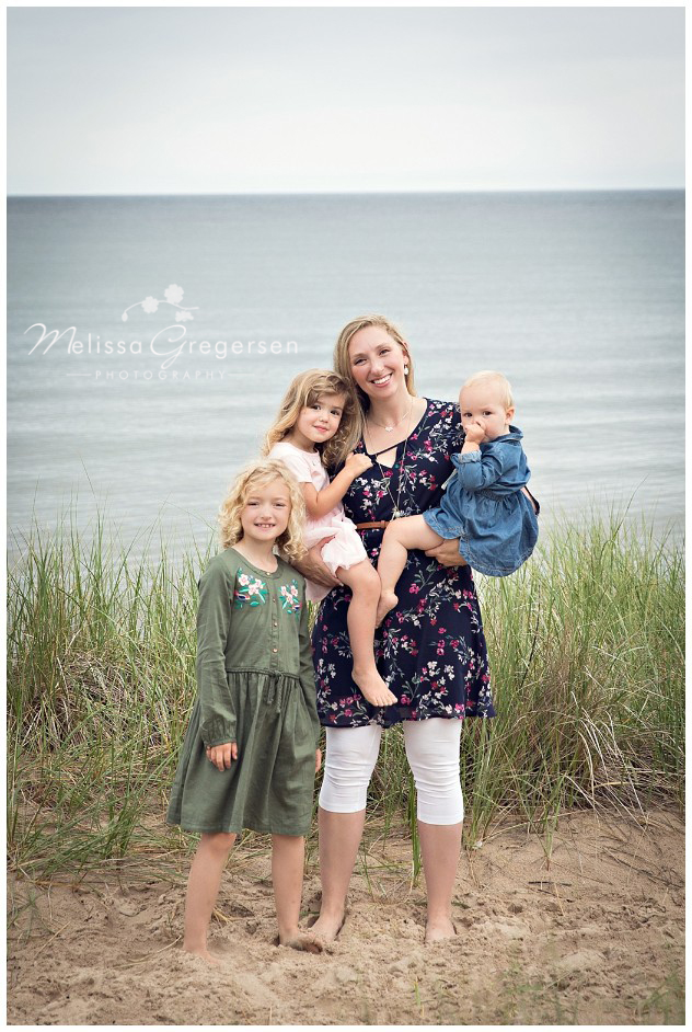 Mom and her three beautiful children on South Haven's South Beach