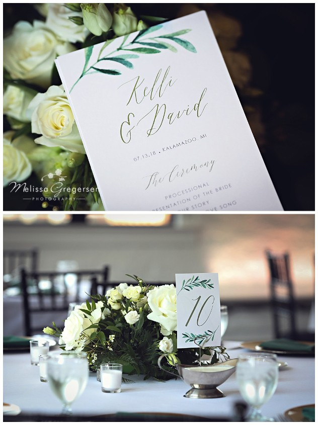 Reception details that include white roses are always beautiful!