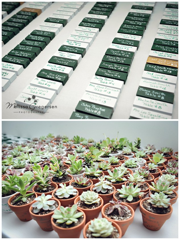 Succulents as party favors and Jenga blocks as place cards. Creative!