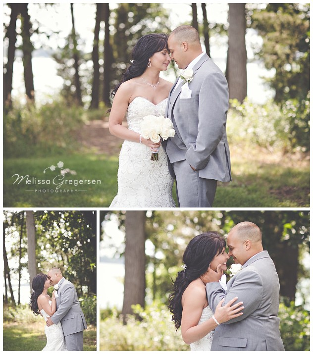Intimate shots of the bride and groom with a lake backdrop are stunning!