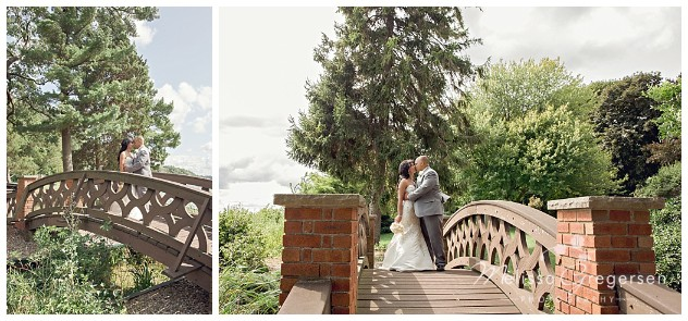 This beautiful wooden bridge found on the property made for the perfect prop for the couple's shot!