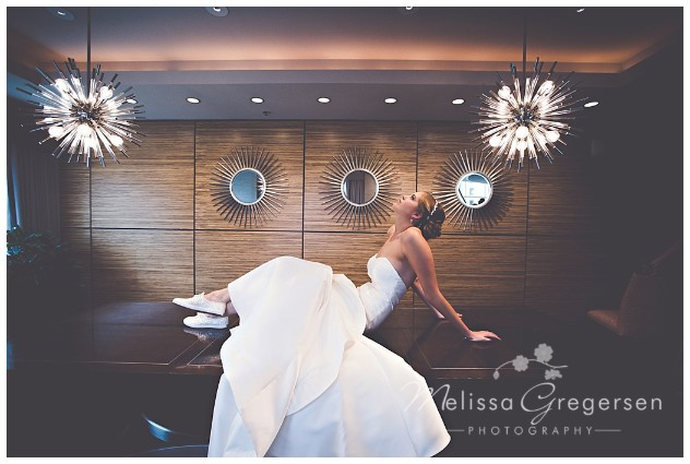 Bride enjoying the Grand Loft Suite at the Radisson