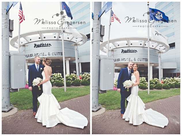 Bride and Groom at the Radisson in downtown Kalamazoo