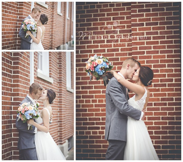 The church's red brick provided a beautiful images of the bride and groom