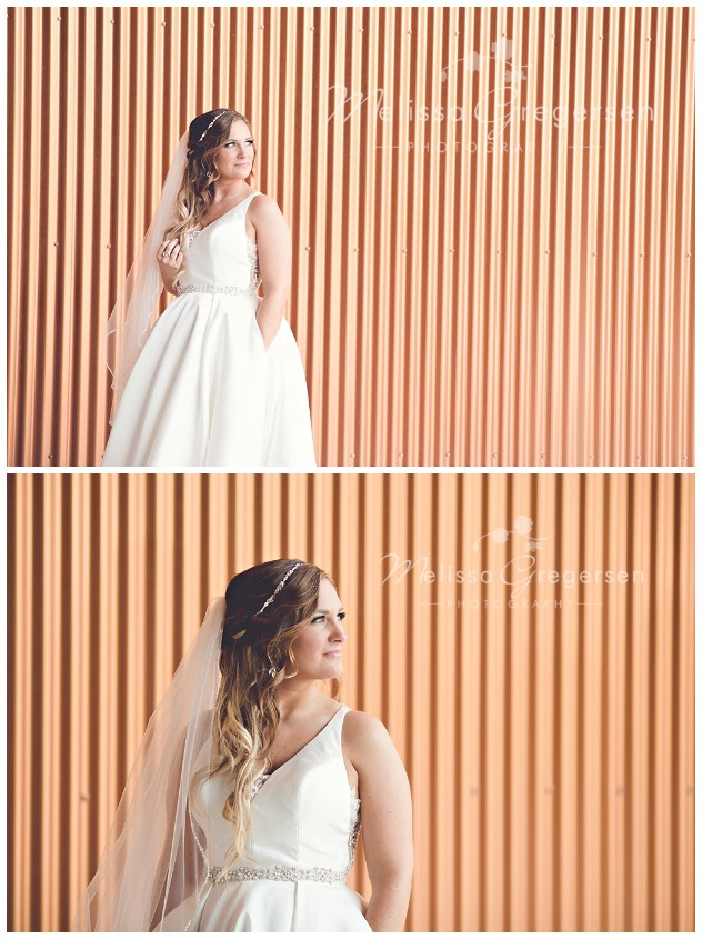 The copper background created a modern look to these bridal portraits at the Fetzer Center