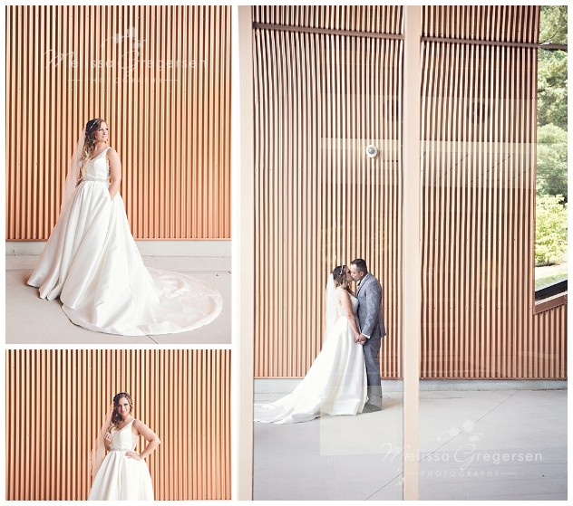 Gorgeous bride in front of copper wall at Western Michigan University