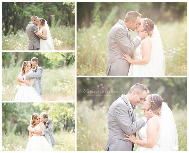 Open field shots of the bride and groom snuggling together with gorgeous lighting