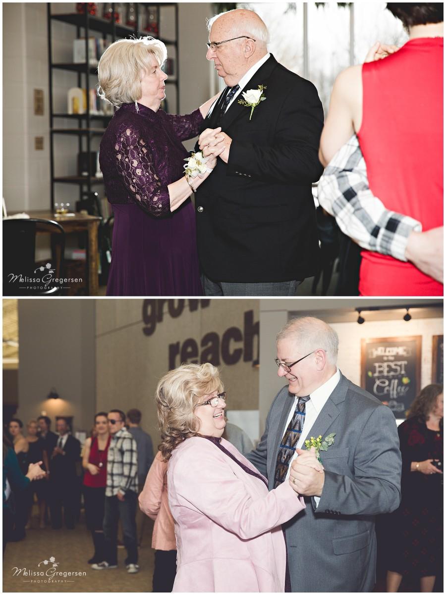 Grandparents dancing at wedding reception