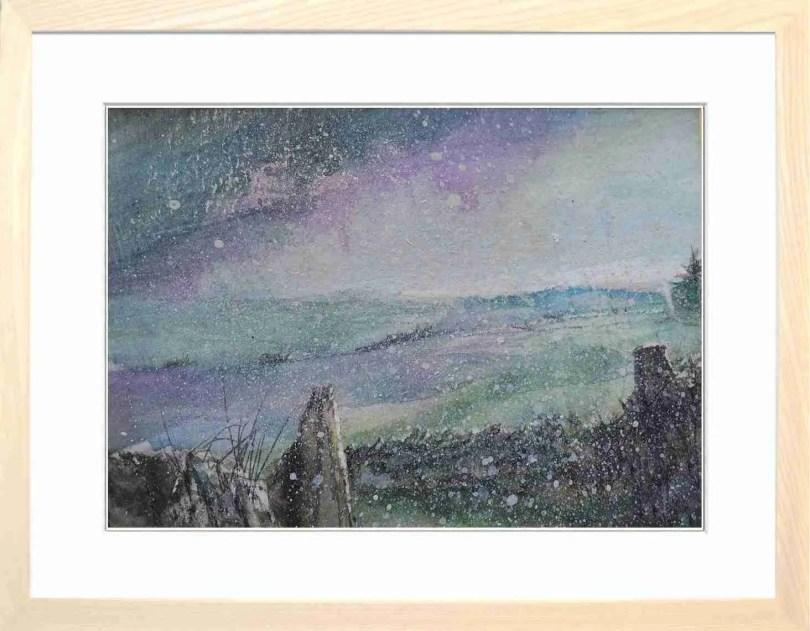 Framed Painting Bleaklow Snowstorm Derbyshire