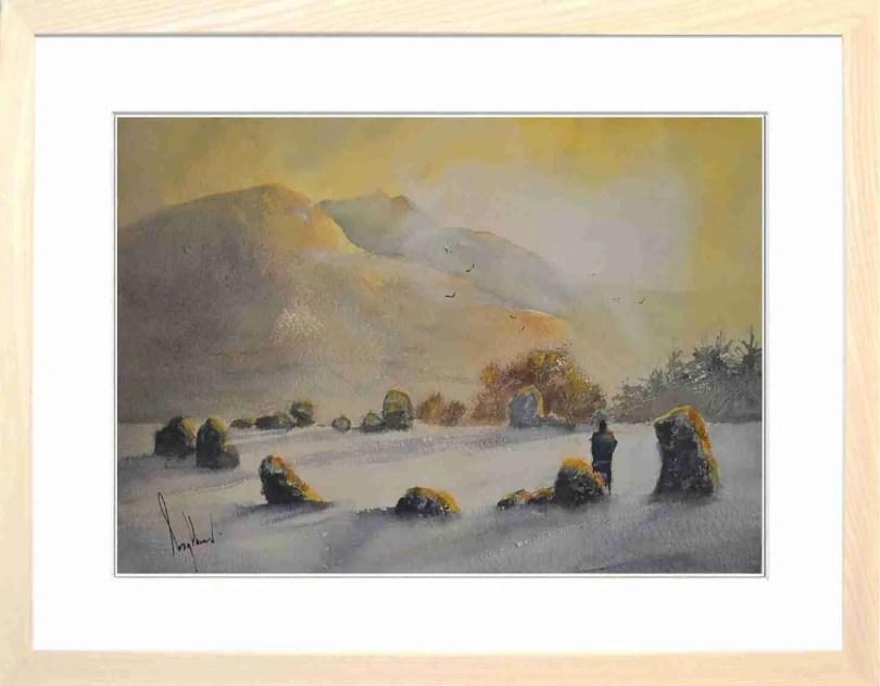 Framed Painting Dawn At Castlerigg