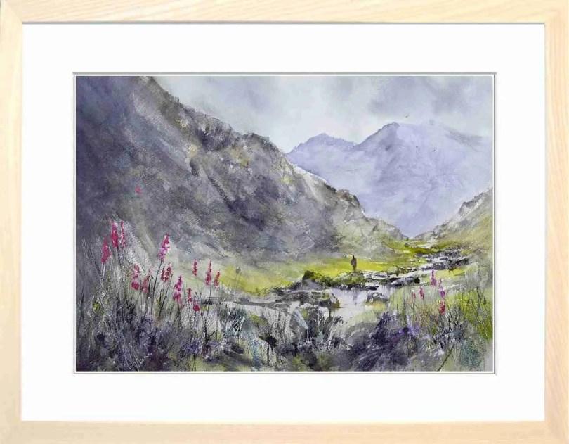 Framed Painting Foxgloves In Langstrath Valley IV