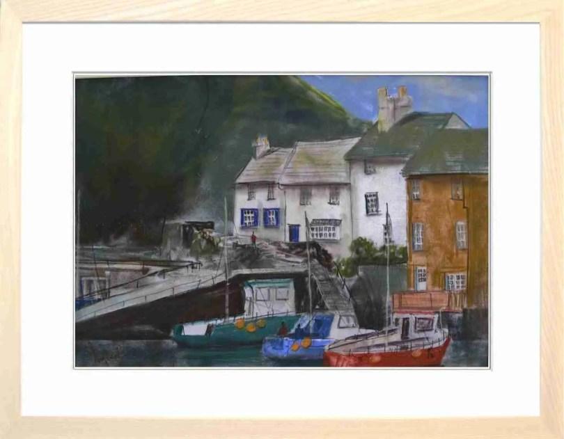 Framed Painting Polperro Harbour Cornwall