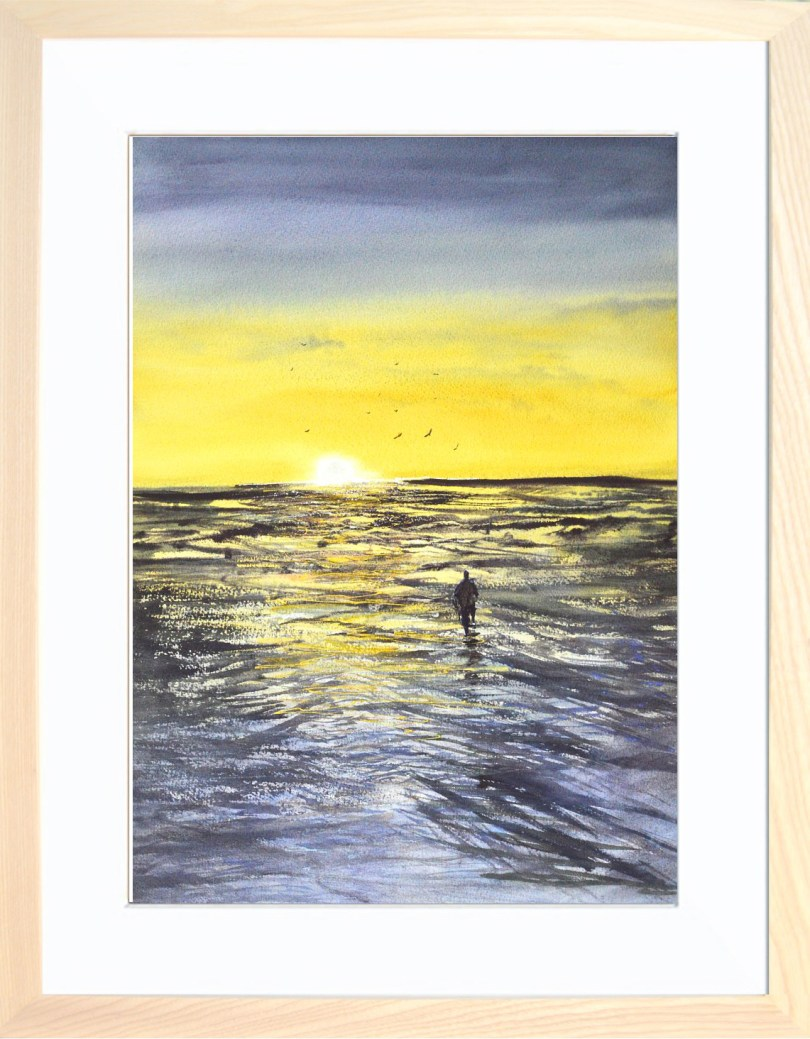 Framed Painting Sunset At Low Tide