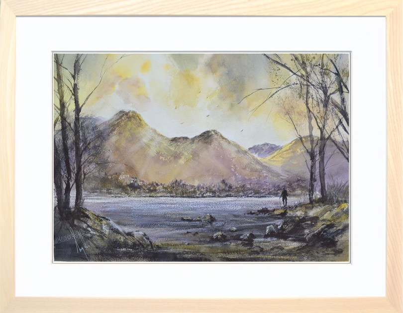 Framed Painting Sunset Over Catbells