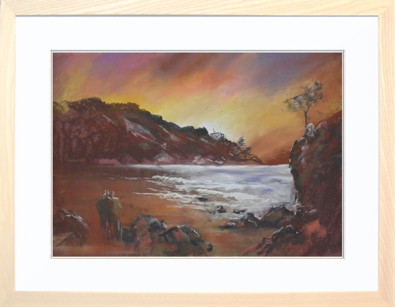 Framed Painting Walk On The Beach