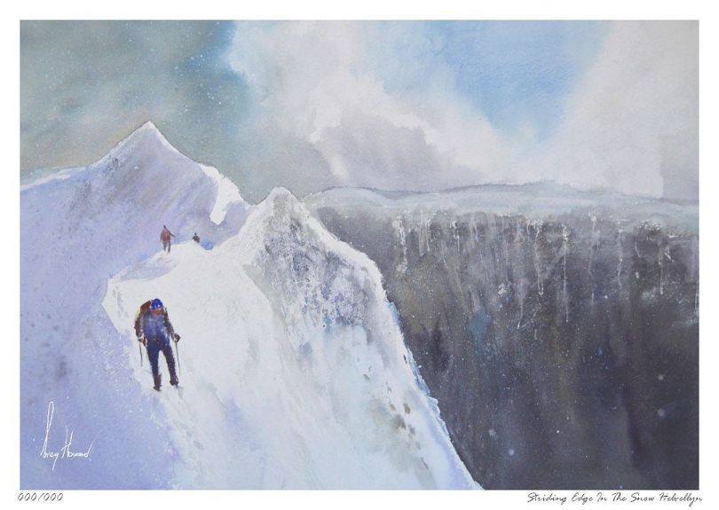Limited Edition Print Striding Edge In The Snow Helvellyn