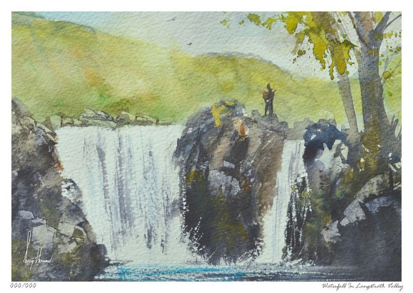 Limited Edition Print Waterfall In Langstrath Valley