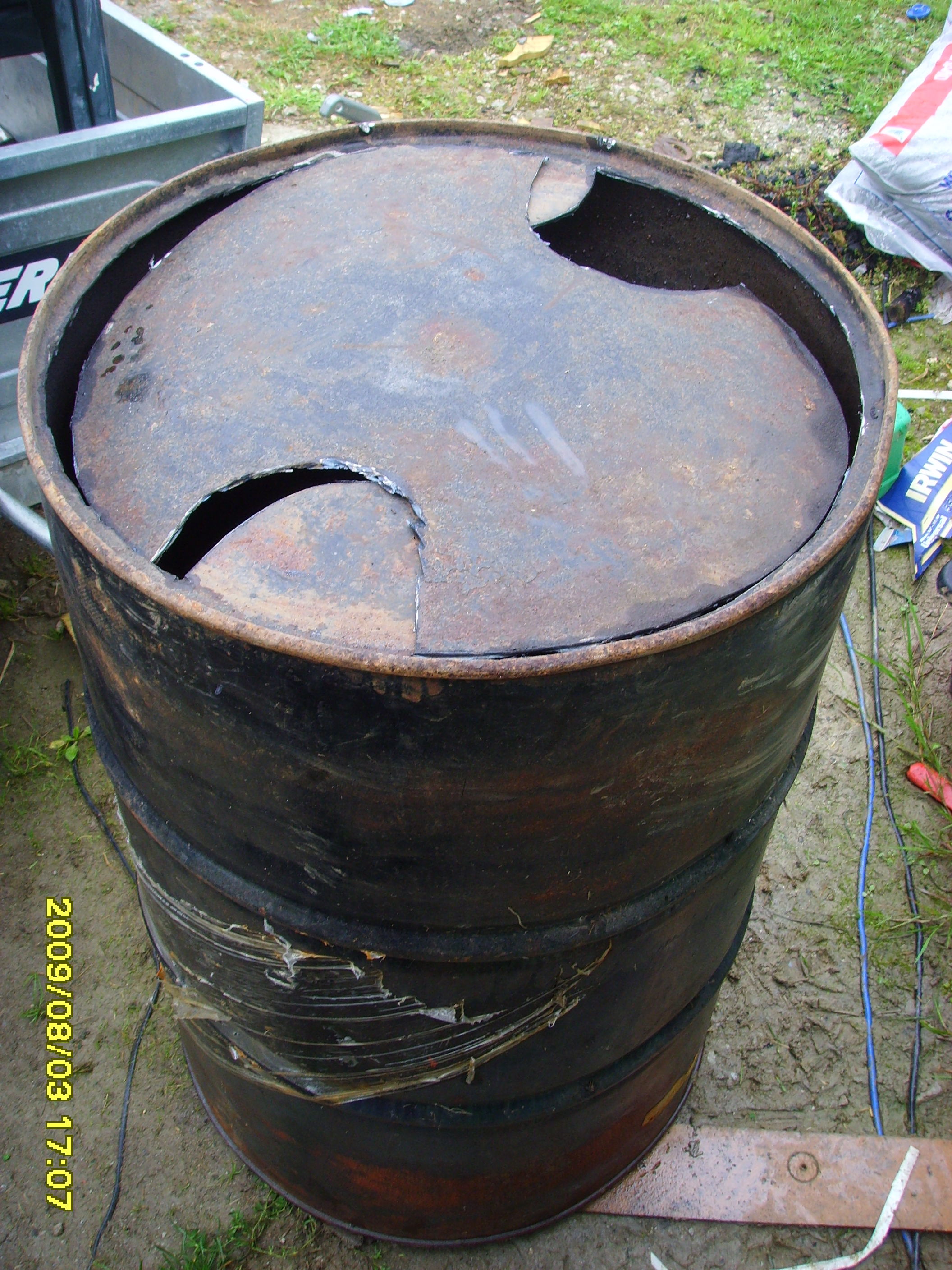 Bottom of drum - Top of Charcoal Burner