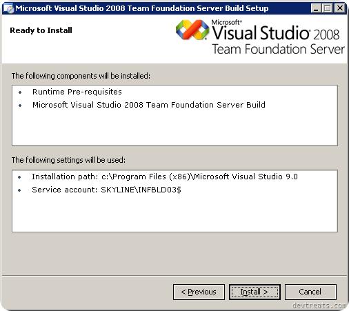 TFS Install Wizard Summary