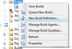 New Build Definition Context Menu
