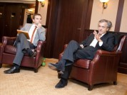Moderating debate with Bernard-Henri Levy on future of European identity for Lech Walesa Institute (2012)