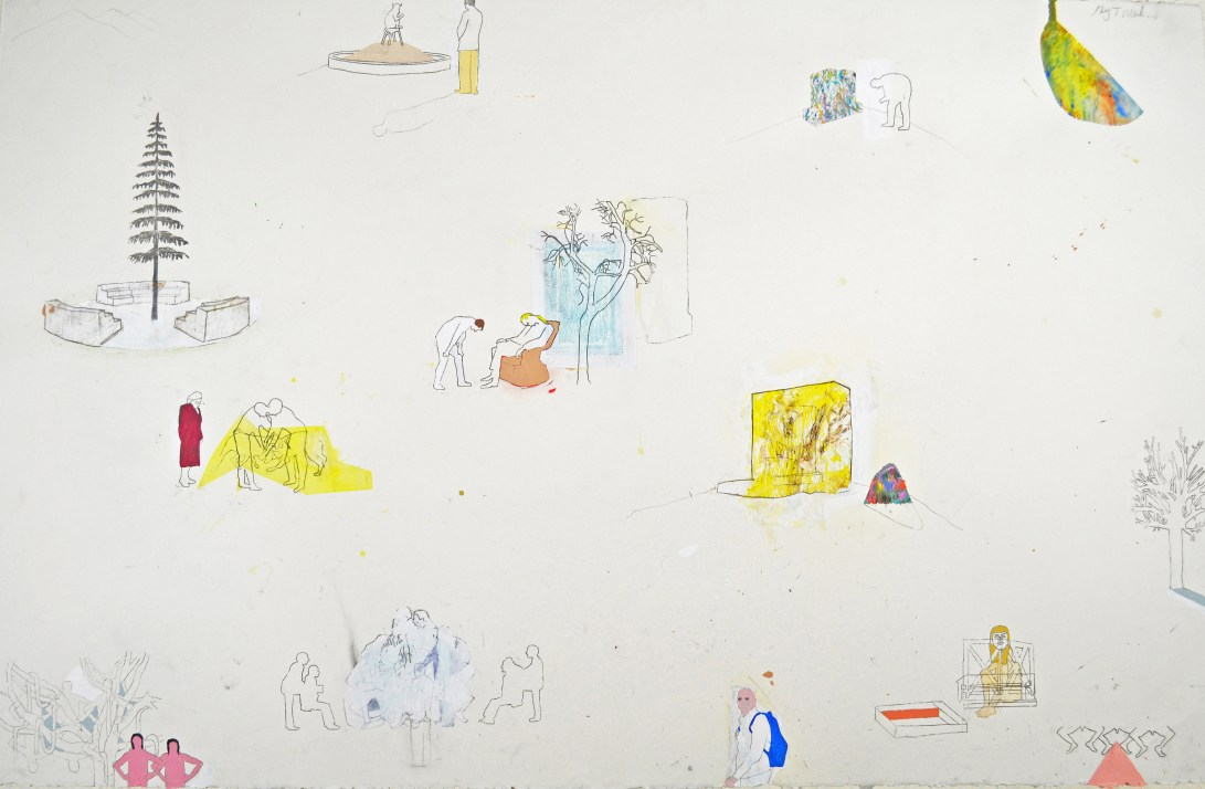"""Acrylic, Pencil, Oil Pastel on Paper. 40"""" x 26"""" 2012."""