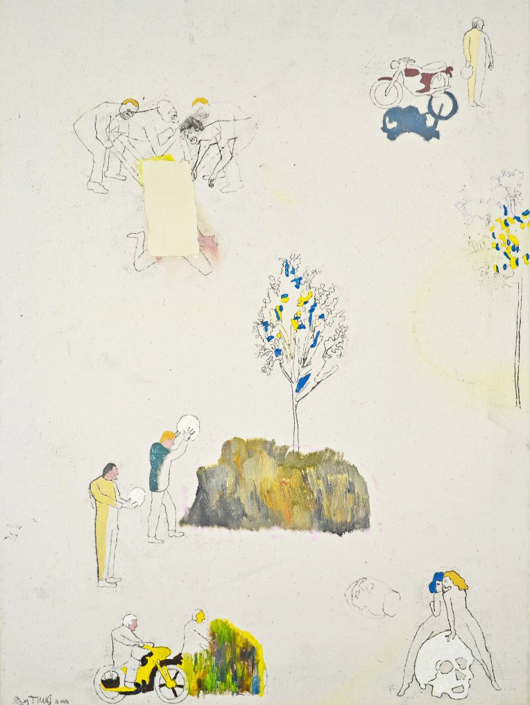 "Oil, Acrylic, Pencil, Oil Pastel on Canvas. 18"" x 24"" 2012."