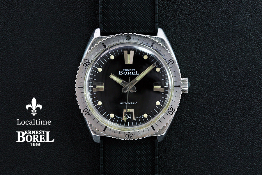 ERNEST BOREL (Swiss) by Synchron SA 20ATM Vintage Diving Watch Automatic Cal. 55 With Date