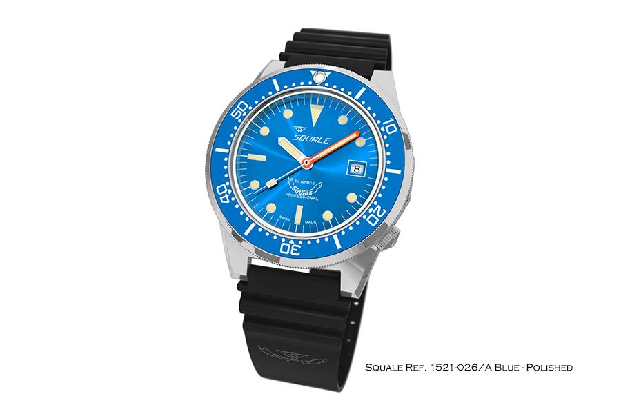 BNIB SQUALE (Swiss) Ref. 1521-026/A Blue 50ATM Diving Watch – ETA Cal. 2824-2