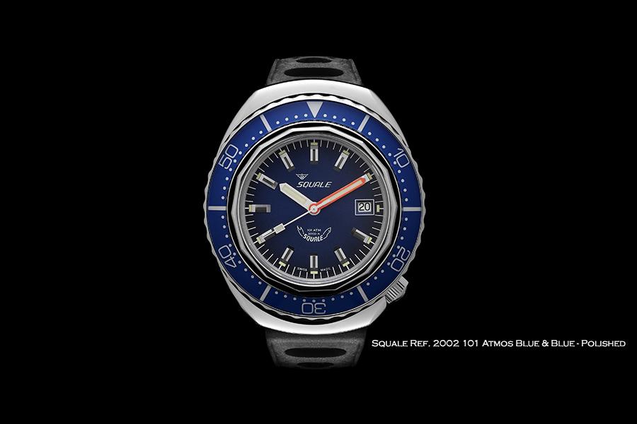 BNIB SQUALE (Swiss) Ref. 2002 Blue Polished 101ATM Diving Watch – ETA Cal. 2824-2