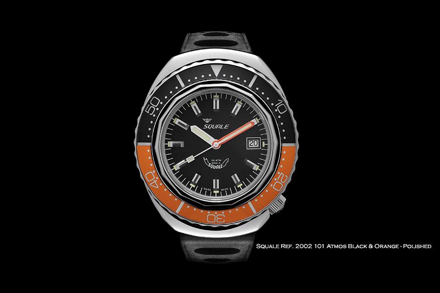 BNIB SQUALE (Swiss) Ref. 2002 Black & Orange Polished 101ATM Diving Watch – ETA Cal. 2824-2