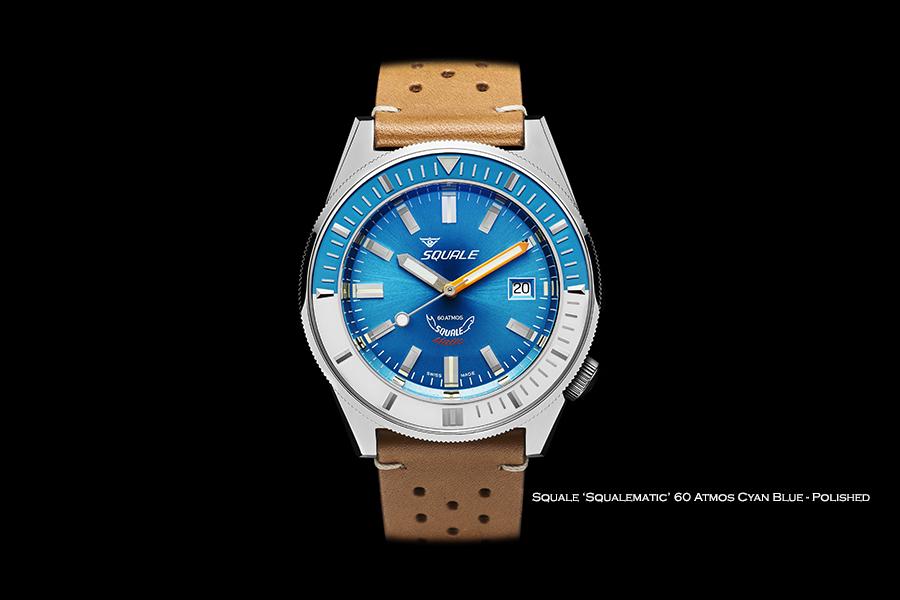 BNIB SQUALE (Swiss) 'Squalematic' Cyan Blue 60 Atmos Diving Watch – ETA Cal. 2824