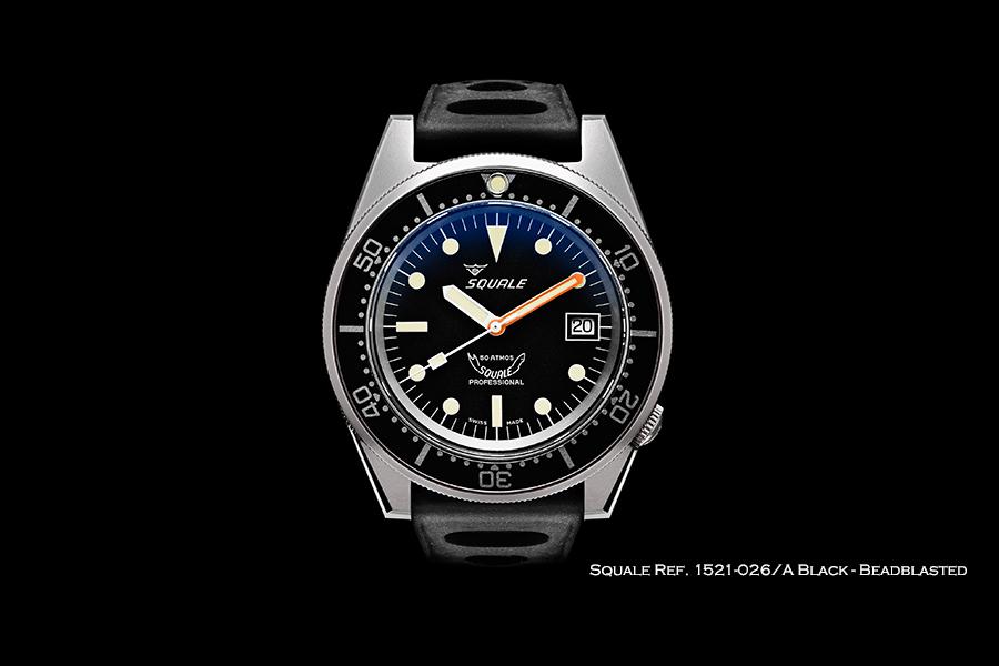 BNIB SQUALE (Swiss) Ref. 1521-026/A Black 50ATM Diving Watch – ETA Cal. 2824-2