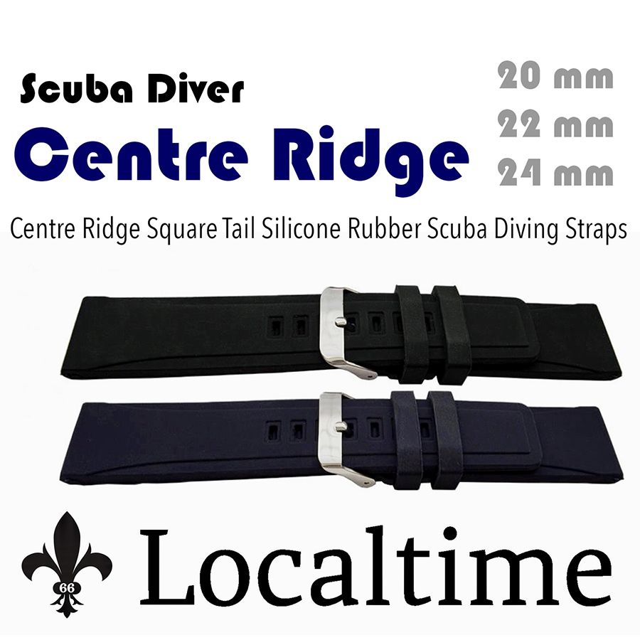 Centre Ridge Square Tail Smooth Silicone Rubber Diving Watch Straps 20-22-24mm